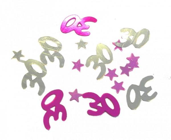 Folien-Konfetti 30 silber/rosa/pink, Box ca. 5,7x4x1,2 cm