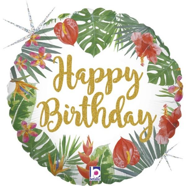 Ballongruß: Happy Birthday Tropical, ca. 45 cm