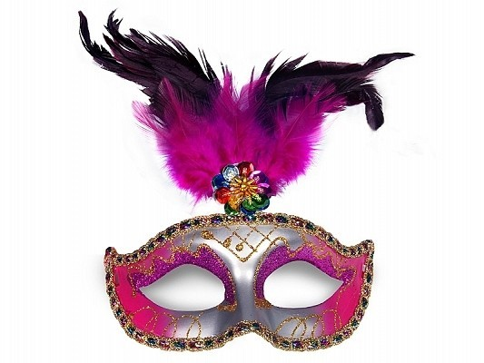 Party Maske mit Federn silber pink bunt, Einheitsgröße, ca. 18 x 24 cm
