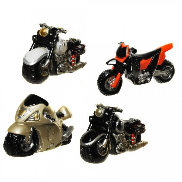 Mini Motorrad, sortiert, Polystone, ca. 4 x 6,5 cm, 1 Motorrad a.d. Sortiment