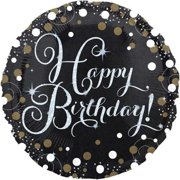 Ballongruß: Happy Birthday schwarz/weiß/silber/gold, ca. 45 cm