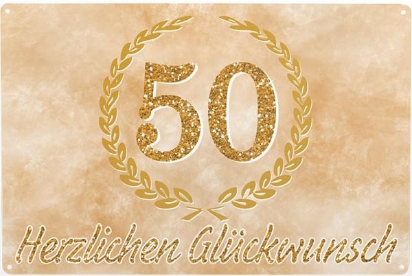 Blechschild Goldhochzeit, ca. 30 x 20 cm