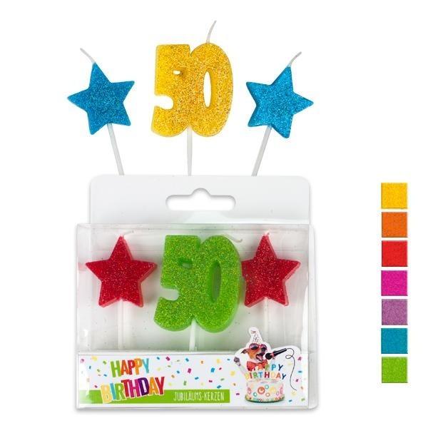 Kerzen 50 Geburtstag bunt, ca. 7 cm, 3er Set