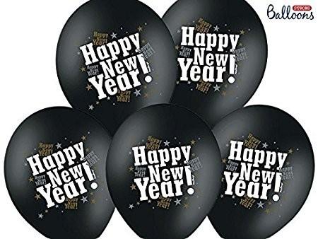 6 Ballons Happy New Year, schwarz, ca. 30 cm