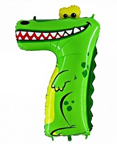Ballongruß: Riesenzahl 7 Krokodil Animaloons, ca. 100 cm