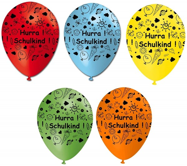 5 Luftballons Hurra Schulkind , sortiert, ca. 30 cm