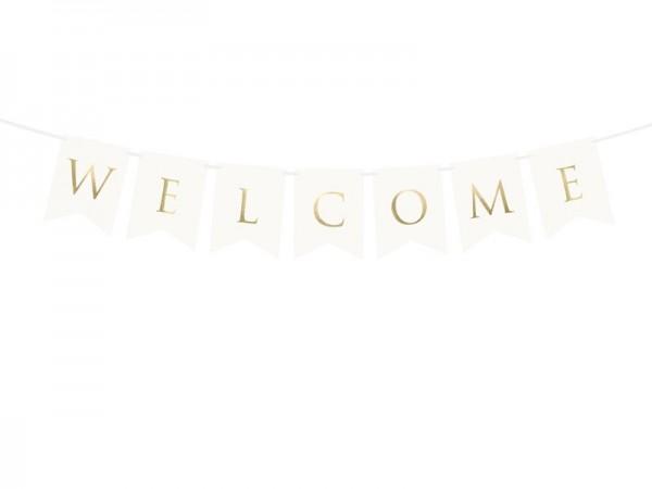 Girlande Welcome, weiß, ca. 0,95 Meter