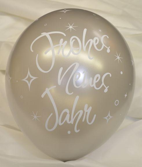 5 Ballons Frohes neues Jahr SILBER, Qualatex, ca. 30 cm