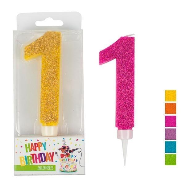 Zahlenkerze 1 Glitter, sortiert, ca. 9 cm