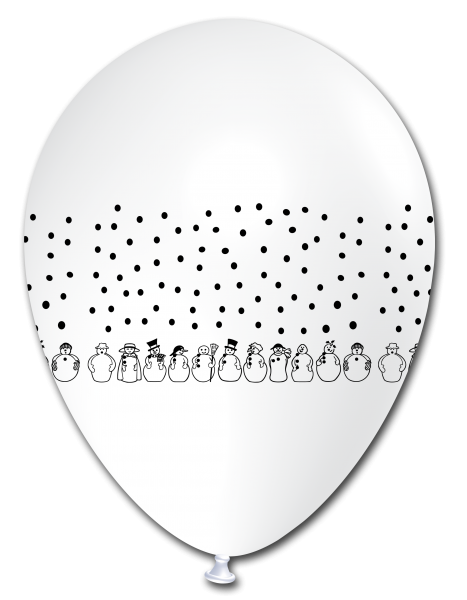 5 Ballons Schneemänner WEIß, ca. 30 cm