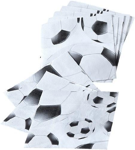 Servietten Fußball schwarz/weiß, ca. 33x33 cm 20 St.