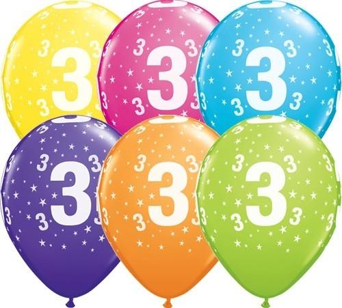 Zahlenballons 3, Qualatex, ca. 30 cm, 6 St.