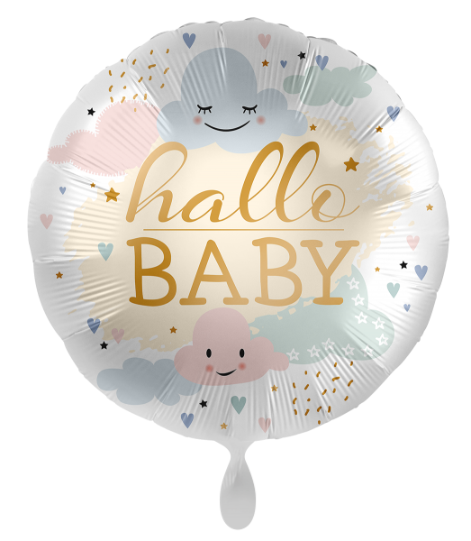 Ballongruß: hallo BABY, Pastell-Wolken, ca. 45 cm