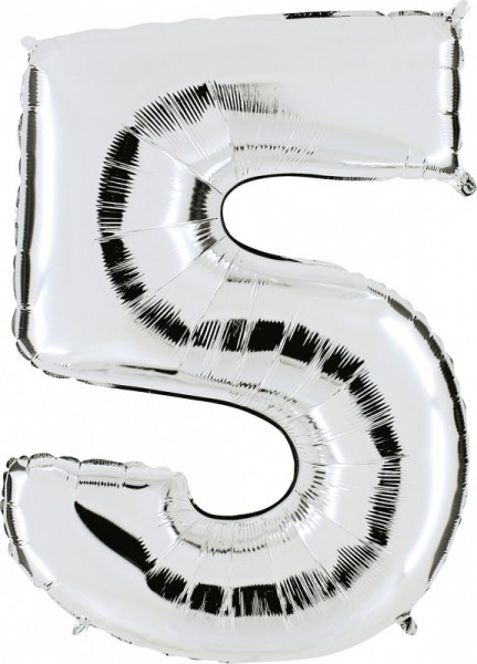 Folienballon Zahl 5, ca. 100 cm, silber