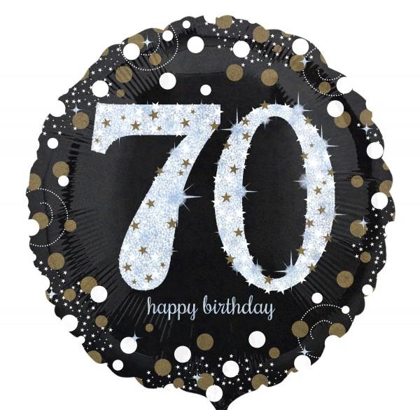 Folienballon 70 Happy Birthday schwarz/gold/silber, ca. 45 cm