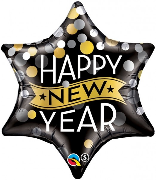 Folienballon Stern Happy New Year, Qualatex, ca. 56 cm