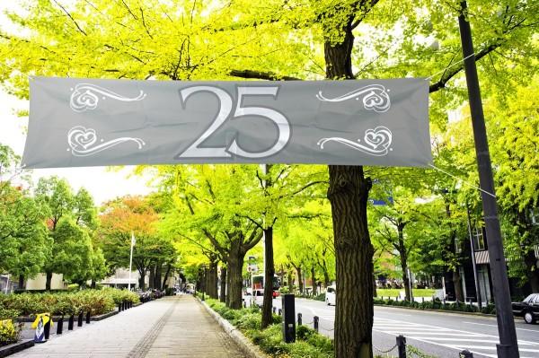 Banner 25 Silberhochzeit, Polyester, ca. 40x180cm