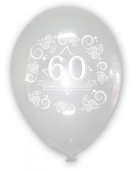 10 transparente Luftballons 60 Diamanten Hochzeit, ca. 30 cm