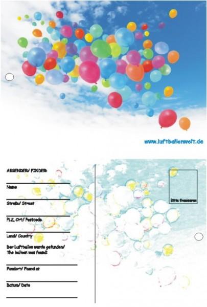 Ballonflugkarten, 50 St., bunte Ballons am Himmel