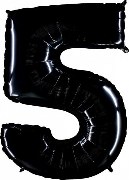 Folienballon Zahl 5, ca. 100 cm, schwarz