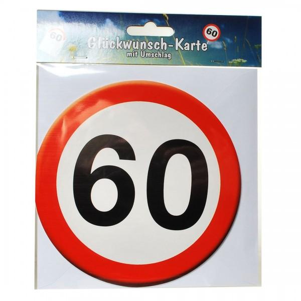 Grußkarte: 60 Verkehrsschild, rund mit Umschlag