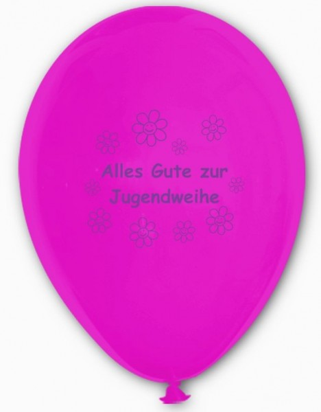 10 Ballons Alles Gute zur Jugendweihe, fuchsia & weiß, ca. 30 cm