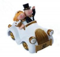 Spardose lustiges Goldpaar im Auto, Goldhochzeit -