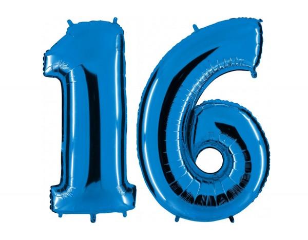 Folienballon Set Zahl 16, ca. 100 cm, blau