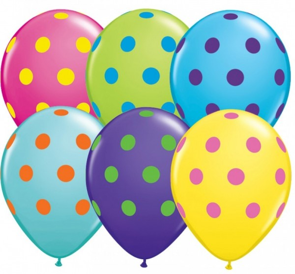 5 Ballons Polka Dots Punkte, bunt, Qualatex, ca. 30 cm