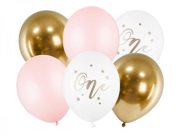 Zahlenballons One, rosa weiß gold, ca. 30 cm, 6 St.