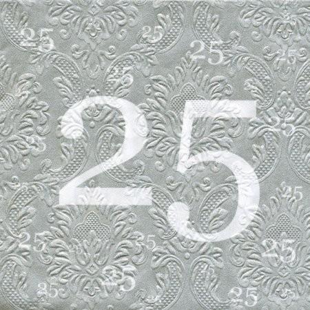 Servietten 25, Silberhochzeit,Prägung, 20 St.
