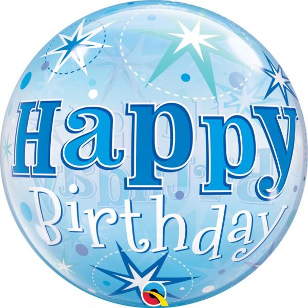 Ballongruß: Bubble Happy Birthday Blau, ca. 56 cm