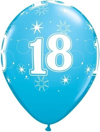 5 Zahlenballons 18 Qualatex, blau, ca. 30 cm