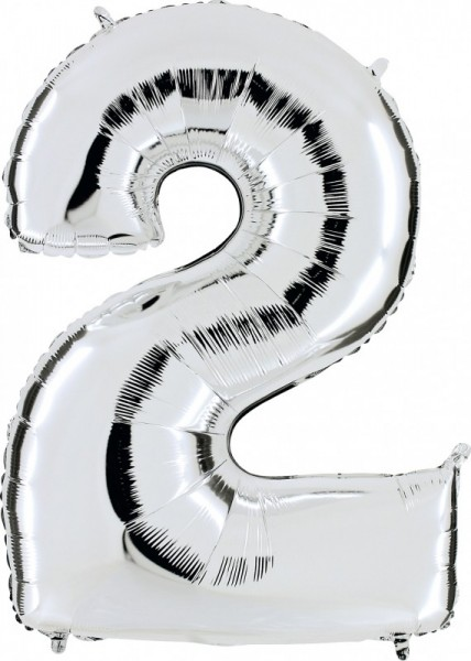 Folienballon Zahl 2, ca. 66 cm, silber