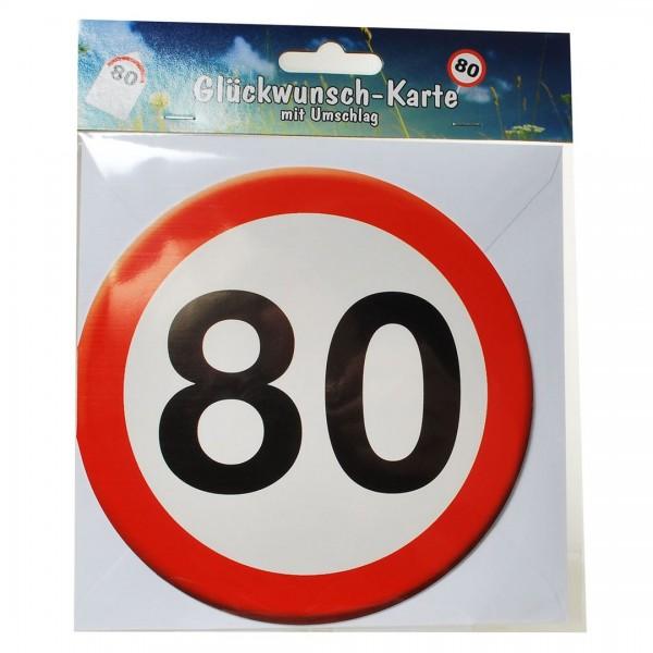 Grußkarte: 80 Verkehrsschild, rund mit Umschlag