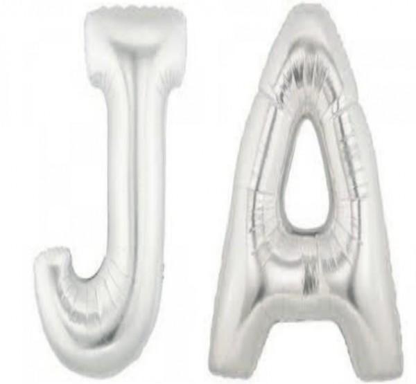Folienballons Buchstaben JA , silber, ca. 35 cm, für Luftbefüllung