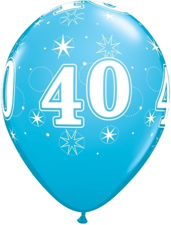 5 Zahlenballons 40 Qualatex, blau, ca. 30 cm