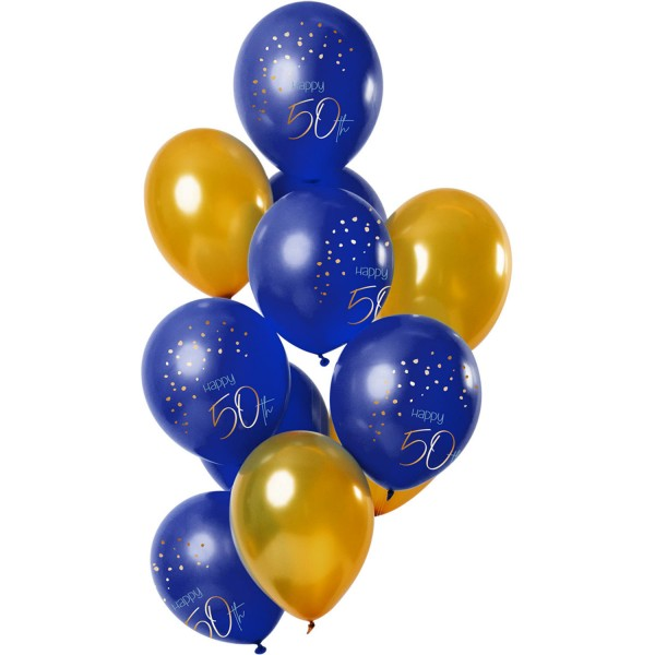 12 Zahlenballons 50 Blau Gold, ca. 30 cm