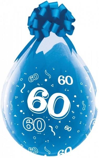 Zahl 60 Verpackungsballon, transparent, Qualatex, ca. 45 cm