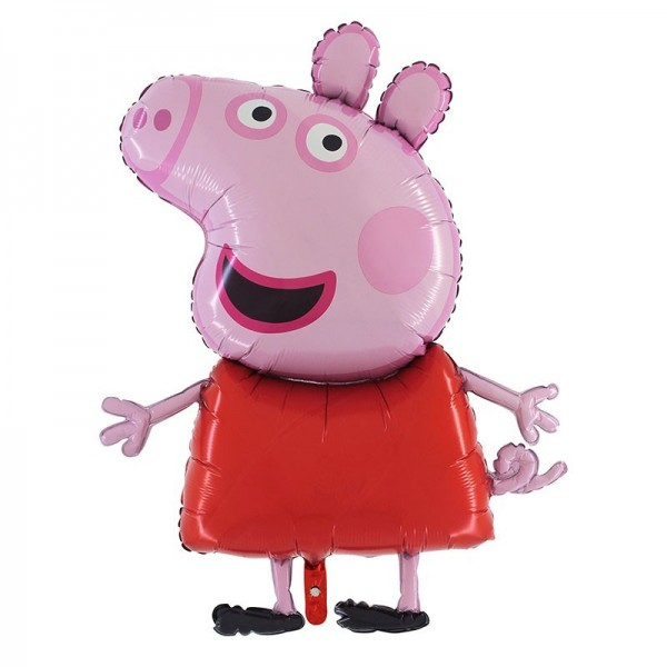 Folienshape Peppa Pig mit rotem Kleid, ca. 83 cm