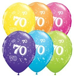 5 Zahlenballons 70 Qualatex, Tropical-Mix, ca. 30 cm