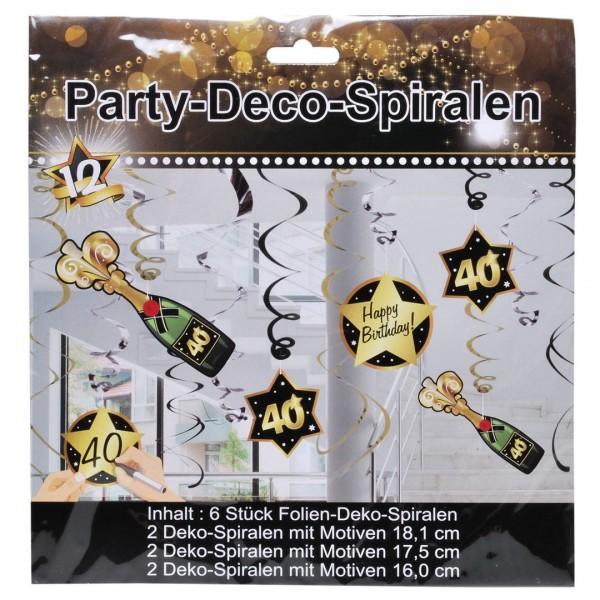 Deko-Spiralen 40 schwarz/gold, 6 St.