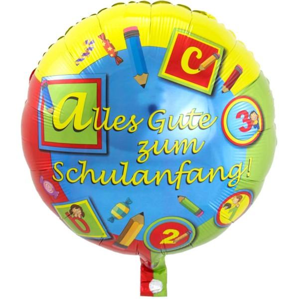 Folienballon Alles Gute zum Schulanfang, ABC 123, ca. 45 cm