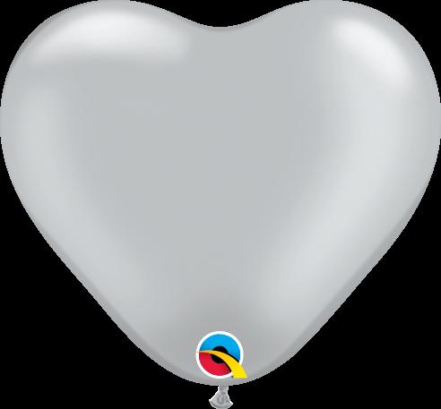 100 Mini-Herzballons, silber, Qualatex