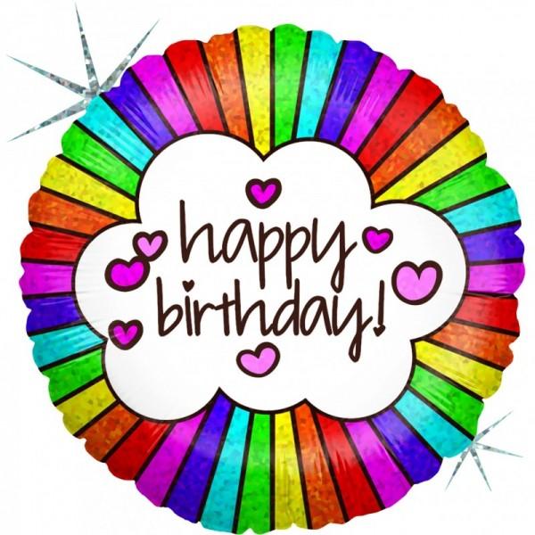 Ballongruß: Happy Birthday Rainbow, Holographic, ca. 45 cm