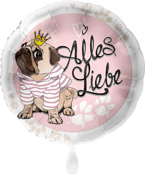 Ballongruß XL: Alles Liebe, Mops mit Krone, ca. 70 cm