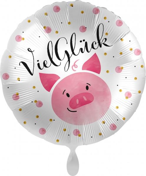 Folienballon Viel Glück Schweinchen, ca. 45 cm