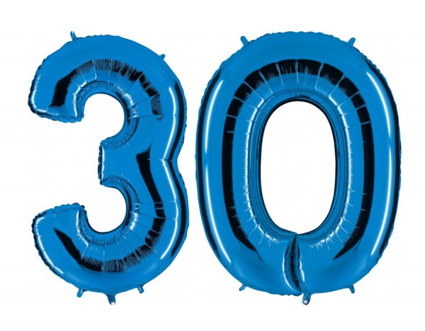 Folienballon Set Zahl 30, ca. 100 cm, blau