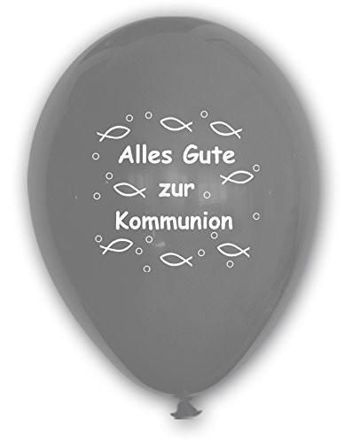 10 Ballons Alles Gute zur Kommunion, silber, ca. 30 cm