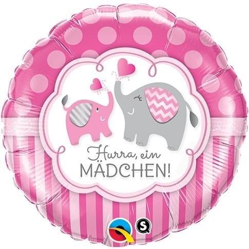 """Folienballon in rosa mit """"Hurra, ein Mädchen"""" Schriftzug und Elefanten Motiv, ca. 45 cm Durchmesser"""
